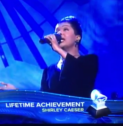 CeCe Winans mistaken for Shirley Caesar during the Lifetime Achievement Awards segment during the live airing of the 59th annual Grammy Awards (Photo Credit: EEW Magazine/Screen Capture)